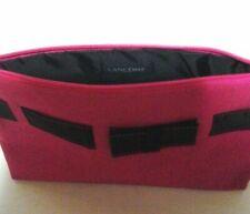 Lancome Hot Pink W/ Black Ribbon Zippered Makeup Cosmetic Travel Bag