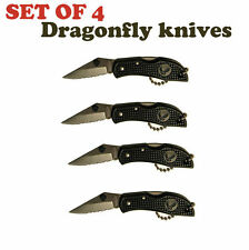 "Set of 4 Dragonfly key-chain 2"" serrated blade backlock switch blade mini knife"