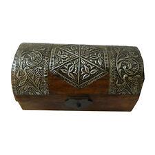 Coffret pirate 15x7,5x7,5cm brun foncé bois de manguier boîte rangement trésor