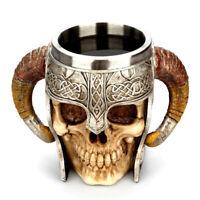 Stainless Steel Skull Mug Tea Drinking Cup Viking Skull Resin Tankard for Party