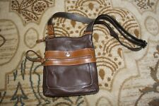 St. John's Bay Leather Purse with Light Brown Trim zippers Wallet pocket