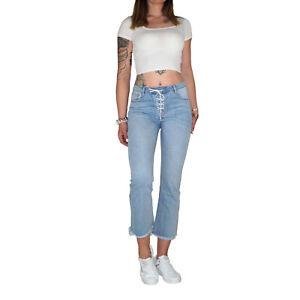 Damen Sommer 7/8 Capri 3/4 Bootcut Ankle Schlag Röhren Kick Flare Jeans Hose E79