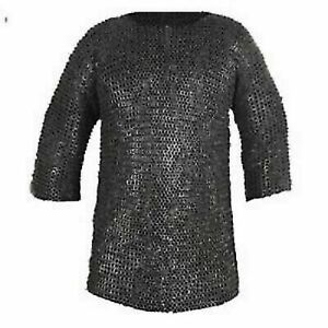 Chainmail Shirt | Oiled | 7 mm | Wedge Riveted Flat Ring | 18 Gauge | Armor