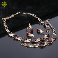 Zircon Necklace Earring Set 18K Gold Plated Crystal Fashion African Jewelry Sets