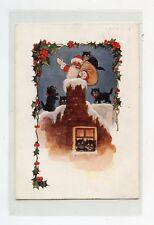 Le père NOËL et les chats noirs . Santa Claus and black cats . CHRISTMAS .