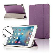 Leather Purple Folding Smart Case Cover Stand Apple iPad Mini 4 2015 + Stylus