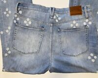 "J.Crew Point Sur Womens 31 Floral Jeans Frayed High Rise 11"" Kick Out Crop Boho"
