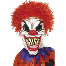 A941 Scary Clown Evil Mask w/ Hair Halloween Horror Scary Costume Accessory