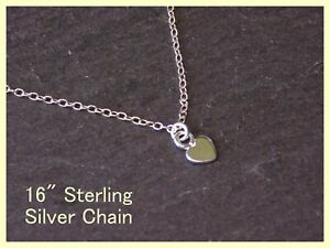 """Gorgeous Solid 925 Sterling Silver Tiny Heart Pendant Necklace 16"""" Chain"""
