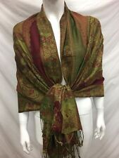 2PLY THICK PASHMINA CASHMERE PAISLEY GREEN BURGUNDY WRAP SCARF STOLE
