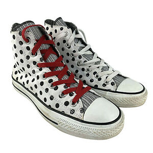 Converse High Top Womens Size 8 Black White Spots Polka Dot Spotted Mens US 6