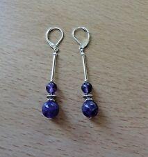 Lovely genuine AMETHYST  long drop CHAKRA/BOHO EAR RINGS St Silver Gift wrapped