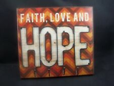 Faith Love Hope Wood Picture Hanging Sign Metal w/ 4 Wall Hooks Chevron #605