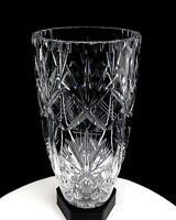 "BOHEMIAN CZECH BRILLIANT CUT CRYSTAL FAN DIAMOND THUMBNAIL RIM LARGE 10"" VASE"