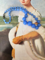 ANTIQUE C30s ART DECO CORNFLOWER BLUE GLASS BEADS Hand Knotted NECKLACE