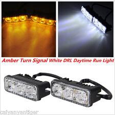 2pcs 3 LED Amber+White High Power Car Daytime Running Light DRL Turn Signal Lamp