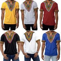 Men's African Print Dashiki T-Shirt Short Sleeve V Neck Longline Ethnic Tee Tops