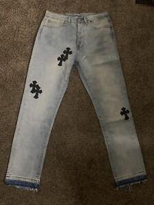 Authentic Chrome Heart Cross Patchwork Denim Pants Sz 34