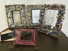 Lot 4 Beaded Metal Photo Frames Various Beads for Repair Arts Crafts Projects