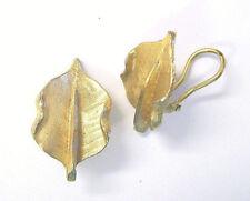 """Vtg B.S.K. Brushed Gold Leaf Clip Earrings 1"""" Signed"""