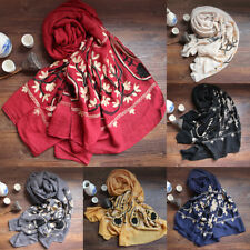 Large Embroidered Floral Scarf Cotton Linen Pashmina Shawl Flower Wrap Scarves