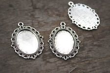 10pcs silver Tone oval Cabochon settings pendants fit 25x18mm glass dome