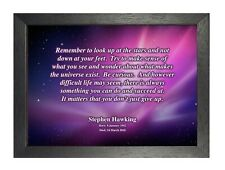 Stephen Hawking 71 Tribute Motivational Inspirational Quote Poster Picture Print