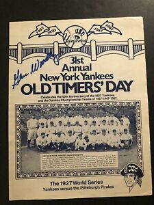 1977 New York YANKEES OLD TIMERS DAY Hand Out Auto Woodling MANTLE Joe DIMAGGIO
