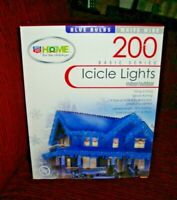 200 Icicle Lights Indoor/Outdoor Blue Bulbs White Wire Christmas Light Icicle