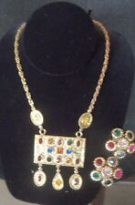 RARE HOLLYCRAFT DEMI PARURE...MULTI COLORED ....50'S....NECKLACE AND EARRINGS...