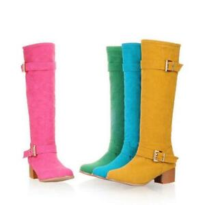Women's Candy Knee High Riding Knight Boots Chunky Mid Heel Buckle Suede Shoes