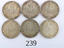 """6x 3 Mark  """" Wilhelm II """" Preußen 1908 1909 1910 1912 A Jäger 103 Silber Münzen"""