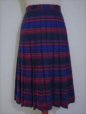Vintage Pendleton Blue Red Striped w/ Hidden Tartan Plaid Wool Pleated Skirt 10