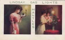 Postcard Advertising Lindsay Gas Lights Mantles