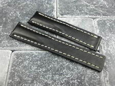 24mm Calf Leather Strap Black Deployment Watch Band BREITLING NAVITIMER 24