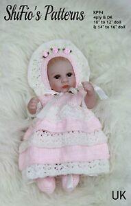 Knitting Pattern for Dolls Clothes, Dress, Bonnet & Shoes, 2 Sizes, KP94