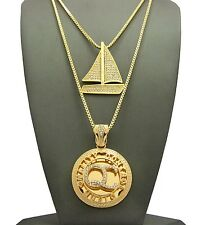 "NEW ICED OUT LIL YACHTY'S YACHT PENDANTS WITH 24"" & 30"" BOX CHAIN SET."