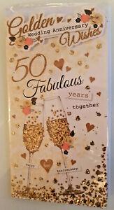 50TH WEDDING ANNIVERSARY CARD GOLDEN WEDDING CARD LOVELY CARD 23 X 12 CMS