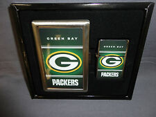 GREEN BAY PACKERS CLASSIC LOGO CIGARETTE CASE / WALLET AND LIGHTER GIFT SET