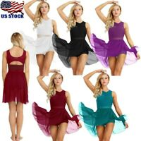 US Women Lyrical Dance Dress Chiffon Contemporary Ballet Dance Gymnastic Leotard