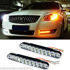 2x 30 LED Car White DRL & Amber Turn Signal Daytime Running Light Fog Lamp DC12V