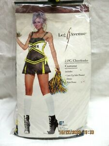 Women's Halloween Cheerleader Costume Blue/Yellow Size Medium