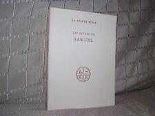 Les livres de Samuel La Sainte Bible éditions du cerf 1953