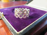 Besonderer 925 Silber Ring Sterling Breit Bandring X Maßwerk Optik Durchbruch