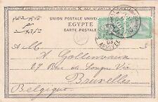 Egypt 1903 Postcard sent w Mataria CD to Belgium