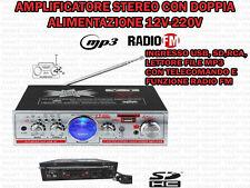 AMPLIFICATORE AUDIO HIFI USB 12V 220V SD MP3 RADIO FM 2 INGRESSI RCA TELECOMANDO