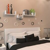 3 Floating Display Shelves Ledge Bookshelf Wall Mount Storage Home Décor White