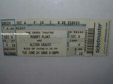 ROBERT PLANT & ALISON KRAUSS Concert Ticket GREEK THEATRE 2008 Led Zeppelin RARE