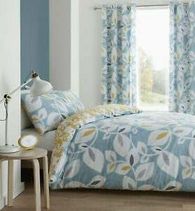 Catherine Lansfield Inga Leaf  Teal Duvet Cover Sets- Matching Curtains Separate