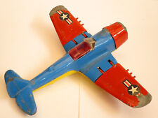 Vintage Original Hubley 495 Fighter Plane Toy With Folding Wings Rubber Tires